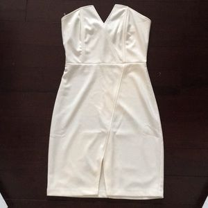 White strapless dress (really cool angles)
